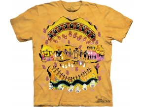 tričko, indiánské, skalní kresba, batikované, potisk, mountain