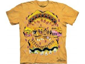 tričko-indiánské-skalní kresba-batikované-potisk-mountain