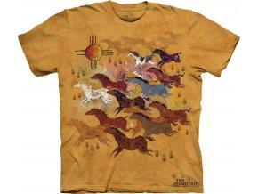 tričko, koně, indiánská kresba, potisk, batikované, mountain
