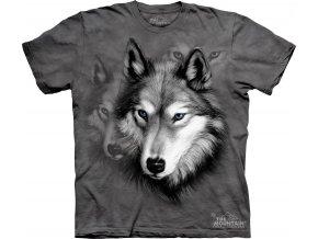 tričko, vlk, šedé, batikované, potisk, mountain