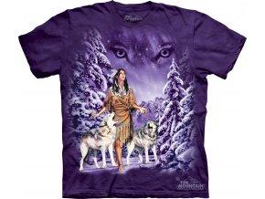 tričko, indiánské, vlci, batikované, potisk, dívka