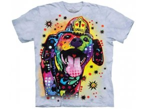 tričko, pes, záchranář, batikované,  potisk, russo