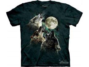 tričko-tři vlci-Měsíc-batikované-potisk-mountain