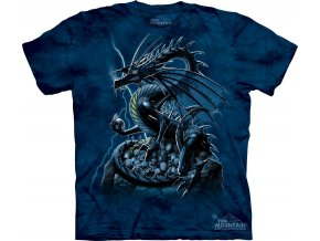 Tričko, drak, lebky, potisk, batikované, mountain
