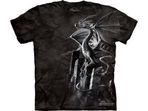 tričko, stříbrný drak, černé, batikované, potisk, mountain