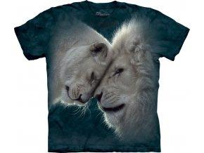 tričko-bílý lev-šelma-potisk-batikované-mountain