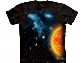tričko, slunce, planety, batikované, potisk, vesmír