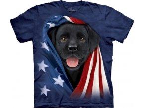 tričko-pes-černé štěně-usa vlajka-potisk-batikované