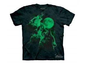 tričko, tři vlci, svítící, batikované, potisk, mountain