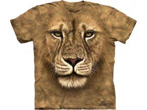tričko, lev, 3d, potisk, batikované, mountain