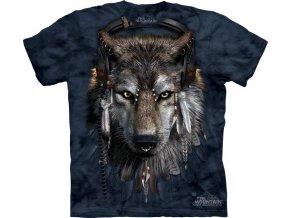 tričko-šedý vlk-vtipné-sluchátka-batikované-bavlněné
