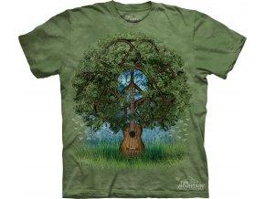 tričko, kytara, hipie, strom, potisk, batikované