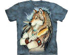 tričko, indiánské, vlk, batikované, potisk, náčelník