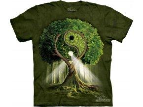 tričko, jin jang, strom, potisk, batikované, mountain