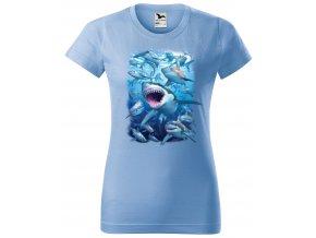nebesky modre damske tricko zraloci v zalivu