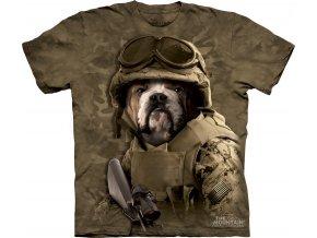 tričko, pes, military, batikované,  potisk, voják