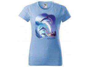 nebesky modre damske tricko delfini na vlne