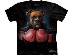 tričko, pes, boxer, batikované,  potisk, vtipné