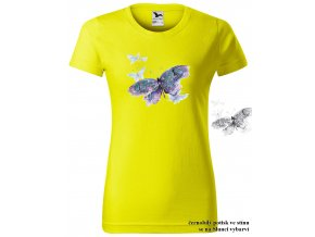 damske tricko citronove fialovy motyl