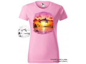 damske tricko ruzove delfin zapad slunce