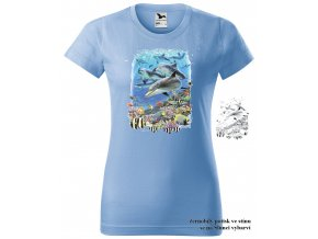 damske tricko nebesky modre hejno delfinu
