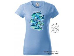 damske tricko nebesky modre frajeri delfini
