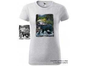 damske tricko svetle sede melirovane cerni medvedi
