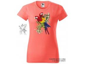 koralove damske tricko par papousku