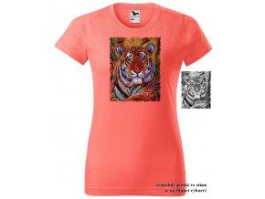 koralove damske tricko hlava tygra