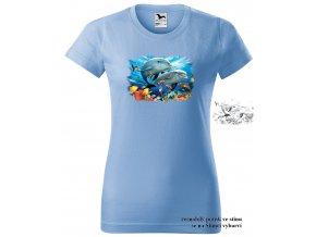 nebesky modre damske tricko delfini