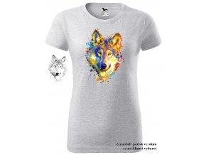 svetle sede melirovane damske tricko neonovy vlk
