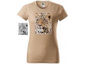 damske tricko piskove hlava leoparda