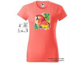 koralove damske tricko hlava papouska