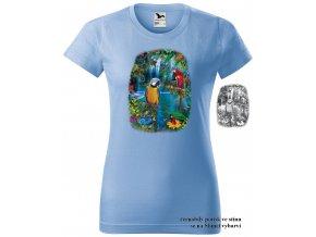 nebesky modre damske tricko laguna papousku