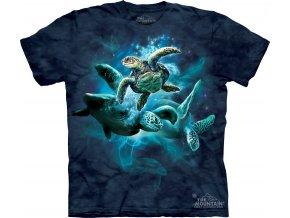 Tričko, želvy, moře, potisk, batikované, hejno