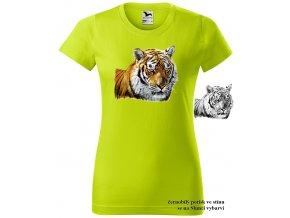 neonove limetkove damske tricko tygr