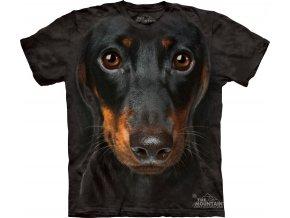 tričko, pes, jezevčík, potisk, batikované, 3d