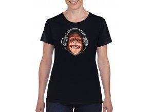 cerne damske tricko opice se sluchatky