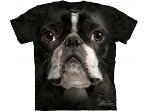 tričko-pes-bostonský terier-3d-potisk-batikované