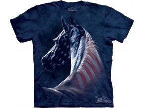 tričko, kůň, usa vlajka, potisk, batikované, mountain