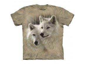 tričko, dva vlci, bílý vlci, batikované, potisk, světlé