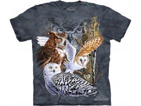 tričko, sovy, noční dravci, batikované, potisk, mountain