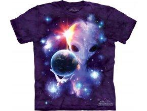 tričko, mimozemšťan, zeměkoule, batikované, potisk, mountain