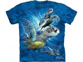 Tričko, želvy, moře, potisk, batikované, mountain