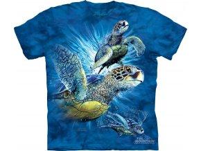 Tričko-želvy-moře-potisk-batikované-mountain