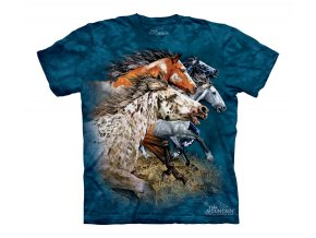 tričko-koně-grošák-potisk-batikované-modré
