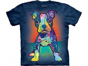 Tričko, pes, štěně, potisk, batikované, russo