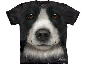 tričko-pes-border kolie- 3d- potisk- batikované
