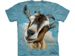 tričko, koza, potisk, batikované, mountain