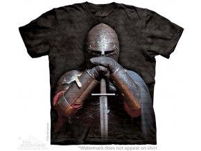 tričko, rytíř, meč, batikované, potisk, brnění